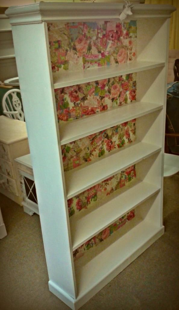 shabby chic bookcase white adorned with stags head decoupage rh pinterest ca