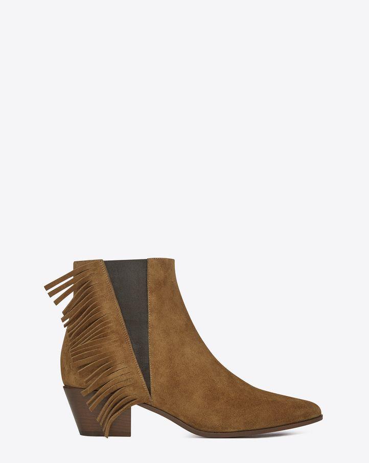 Saint Laurent Leather Fringe Ankle Boots outlet visit new G0xH97BvK