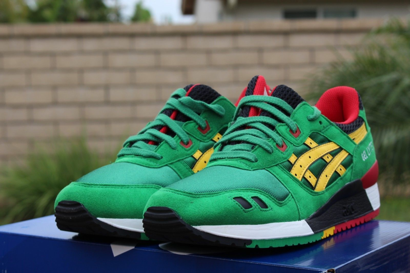 asics gel lyte iii white green yellow