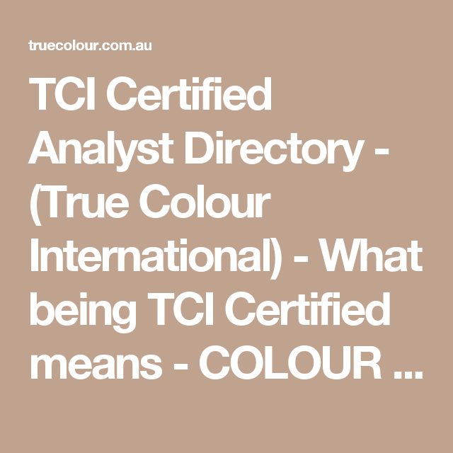Tci Certified Analyst Directory True Colour International What