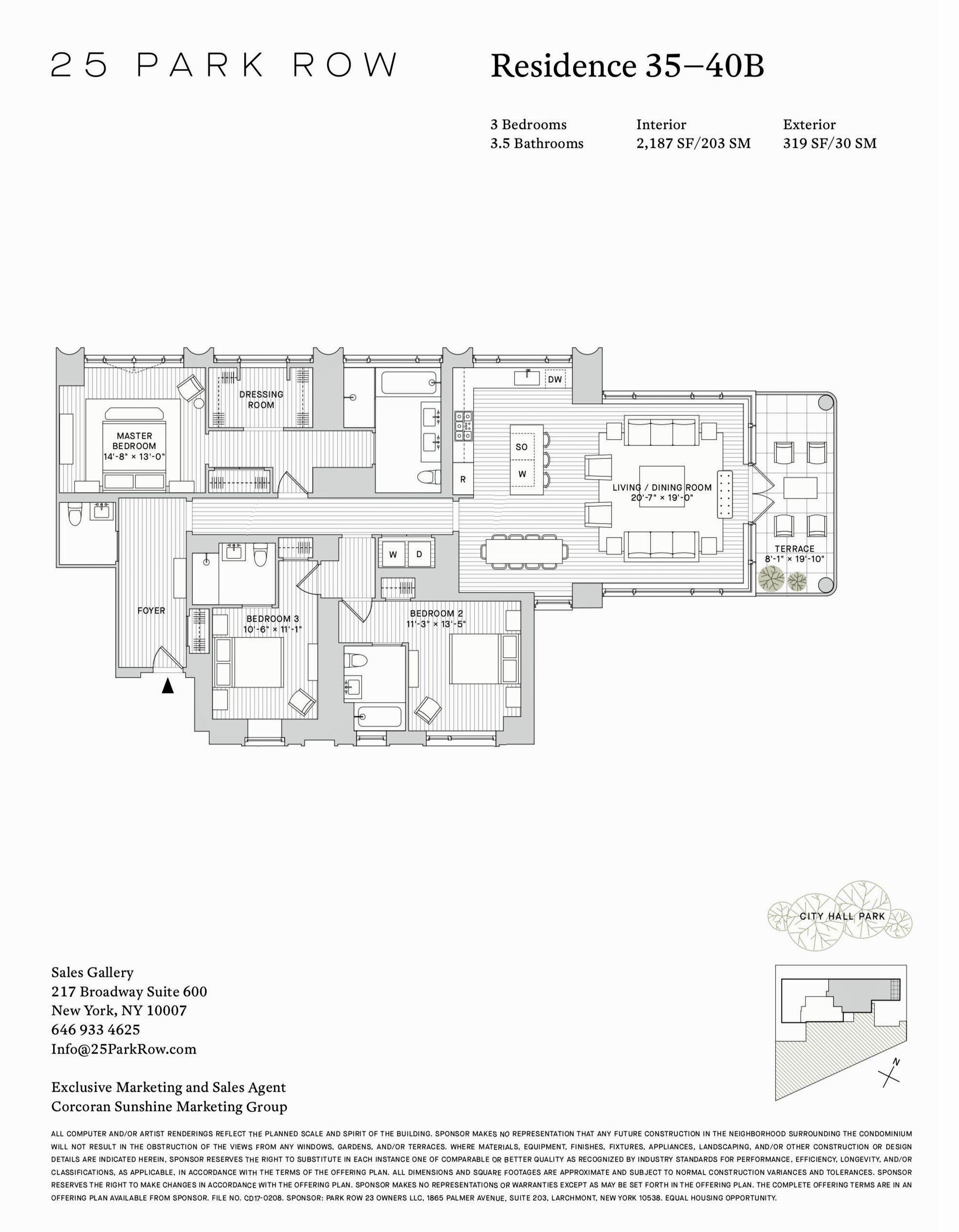 25 Park Row Residence 35 40b Apartment Floor Plans Floor Plans City Living Apartment