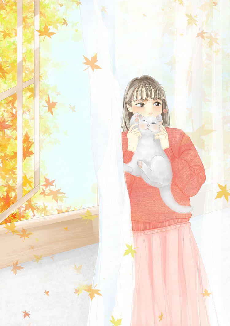 秋日少女_爱吃丸子的猫__插画师作品_涂鸦王国gracg.com