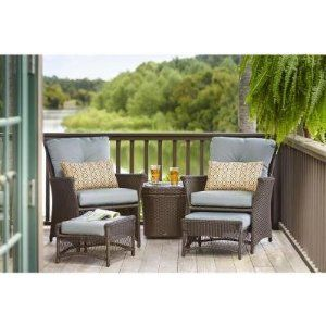 5 piece woven patio chat set weather resistant resin wicker heavy rh pinterest com