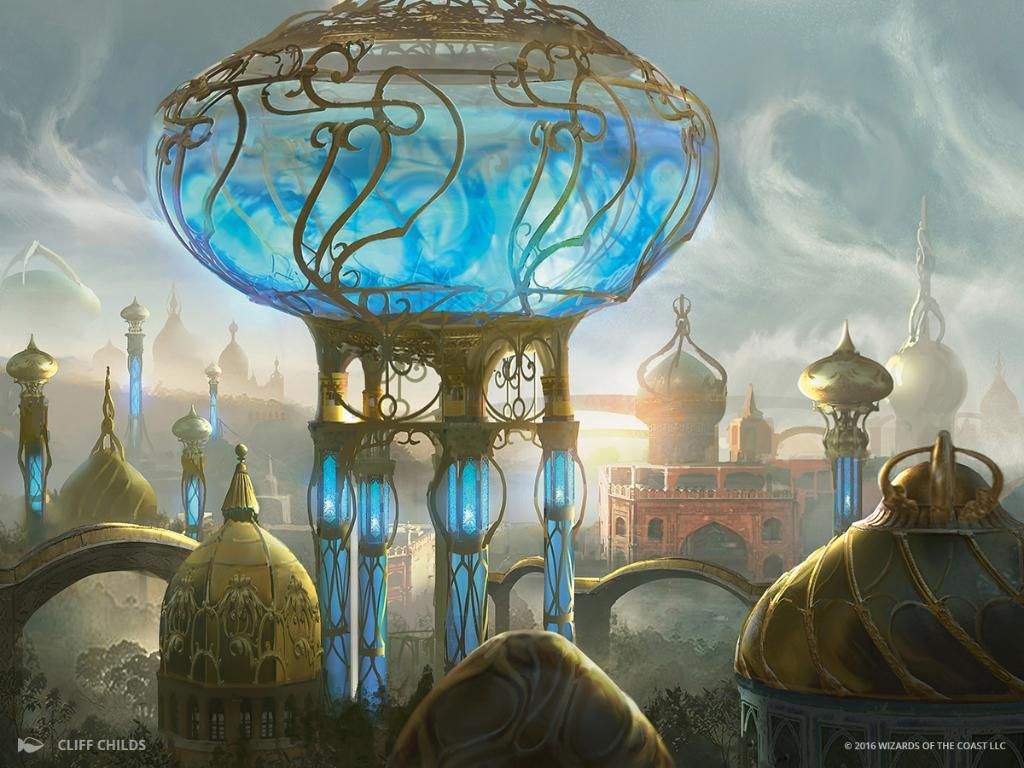 Aetherflux Reservoir MtG Art by Cliff Childs | Fantasy art landscapes,  Fantasy city, Mtg art