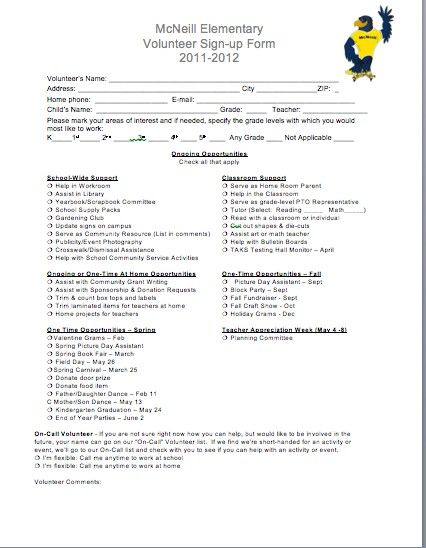 Volunteer Sign-Up Sheet from our File Exchange PTO ideas