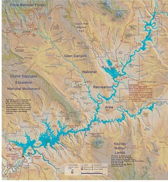 Lake Powell Map With Images Lake Powell Map Lake Powell Lake