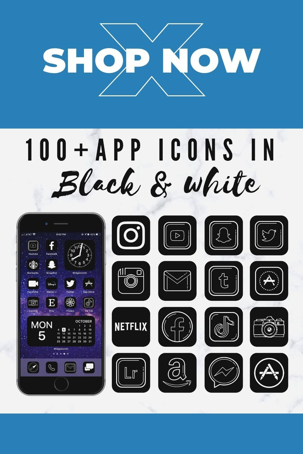 app icons black and white aesthetic, iOS 14 home screen ideas for iPhone.