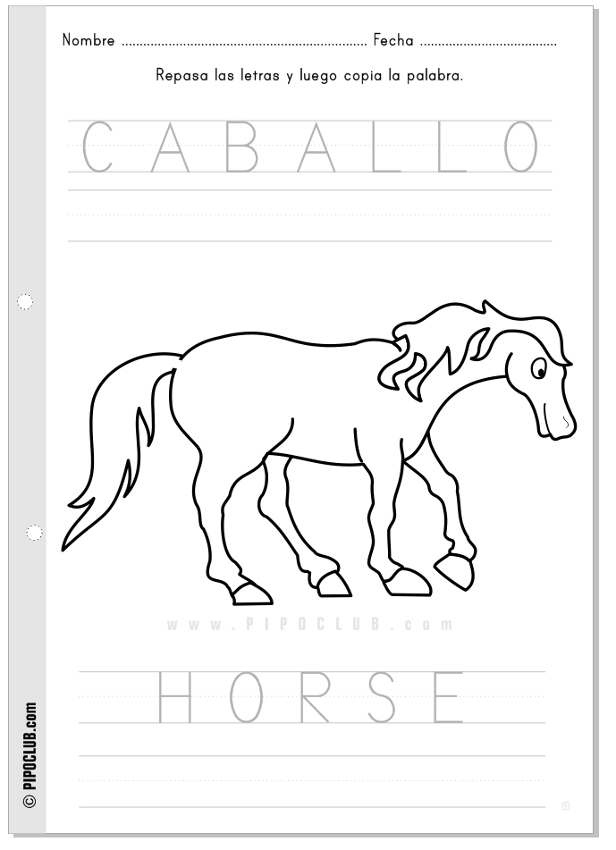 Actividad Caballo Horse #vocabulary #animals #worksheet #preschool ...