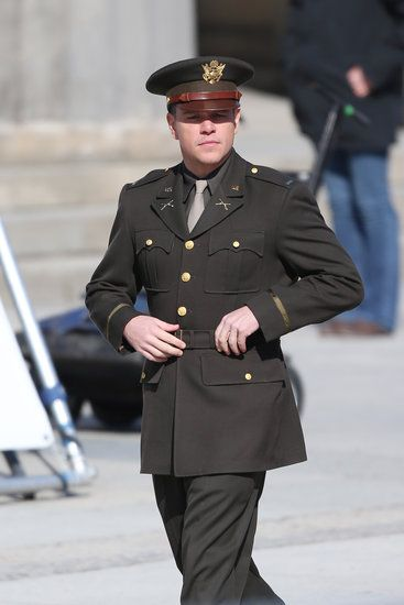 Matt Damon on the set of The Monuments Men