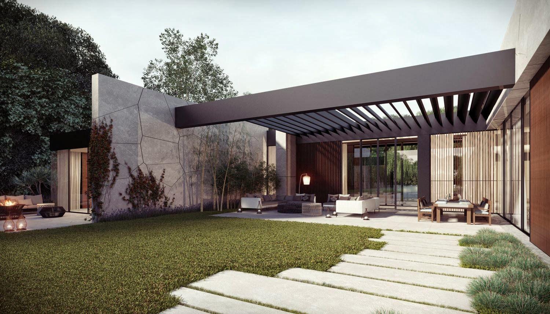Dise o de casa en forma de l con piscina arquitectura y - Porche diseno ...