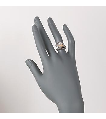 Ross-Simons - C. 1980 Vintage .33 ct. t.w. Diamond Calla Lily Bypass Ring With Green Garnet Accents in 18kt White Gold. Size 6 - #882387