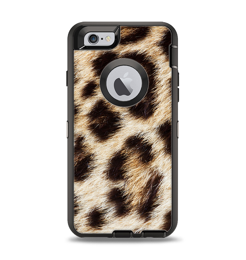 The Leopard Furry Animal Hide Apple iPhone 6 Otterbox Defender Case Skin Set