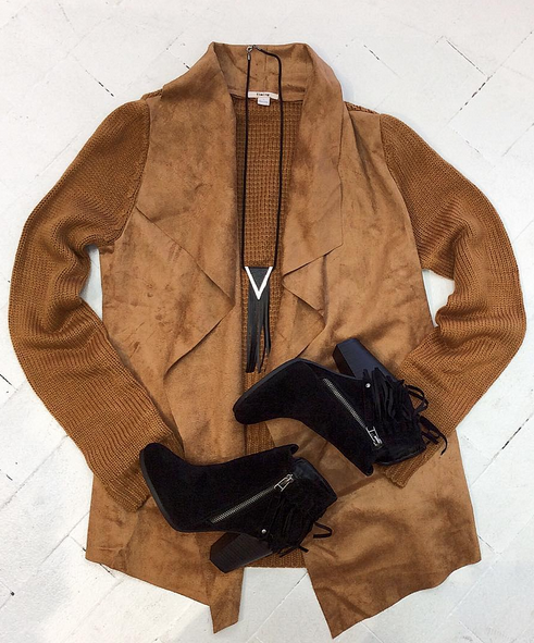 Who doesn't love a good suede cardigan? #shopfedora #shoplocal #fedoraboutique