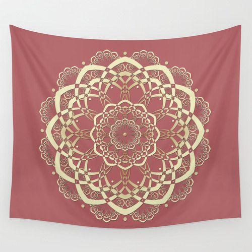 Pink Wall Tapestry pink mandala tapestry, coral tapestry wall tapestry, dusty pink