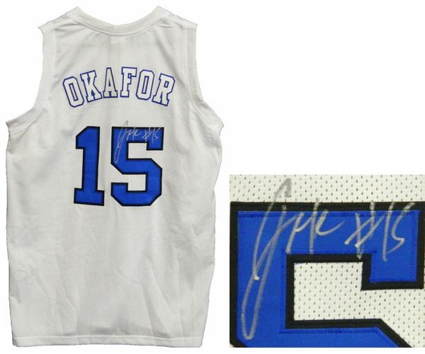 077a2119062 Jahlil Okafor Signed White Basketball Custom Duke Blue Devils Jersey ...