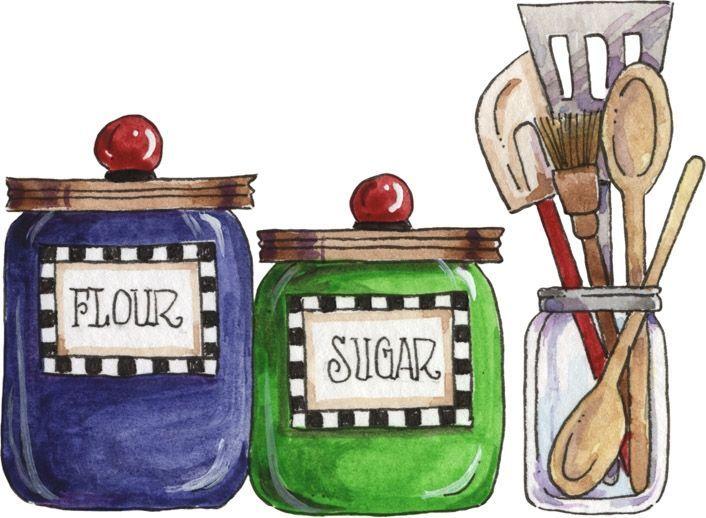 kitchen baking illustration flour sugar canisters utensils susan rh pinterest com