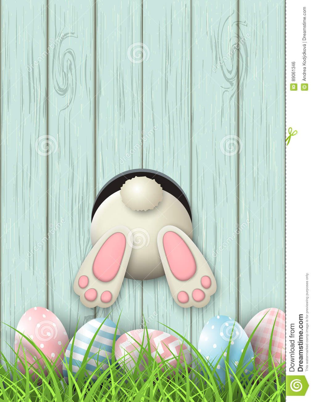 Easter Motive Bunny Bottom And Easter Eggs In Fresh Grass On Blue Wooden Background Illustration Happy Easter Wallpaper Easter Wallpaper Easter Backgrounds