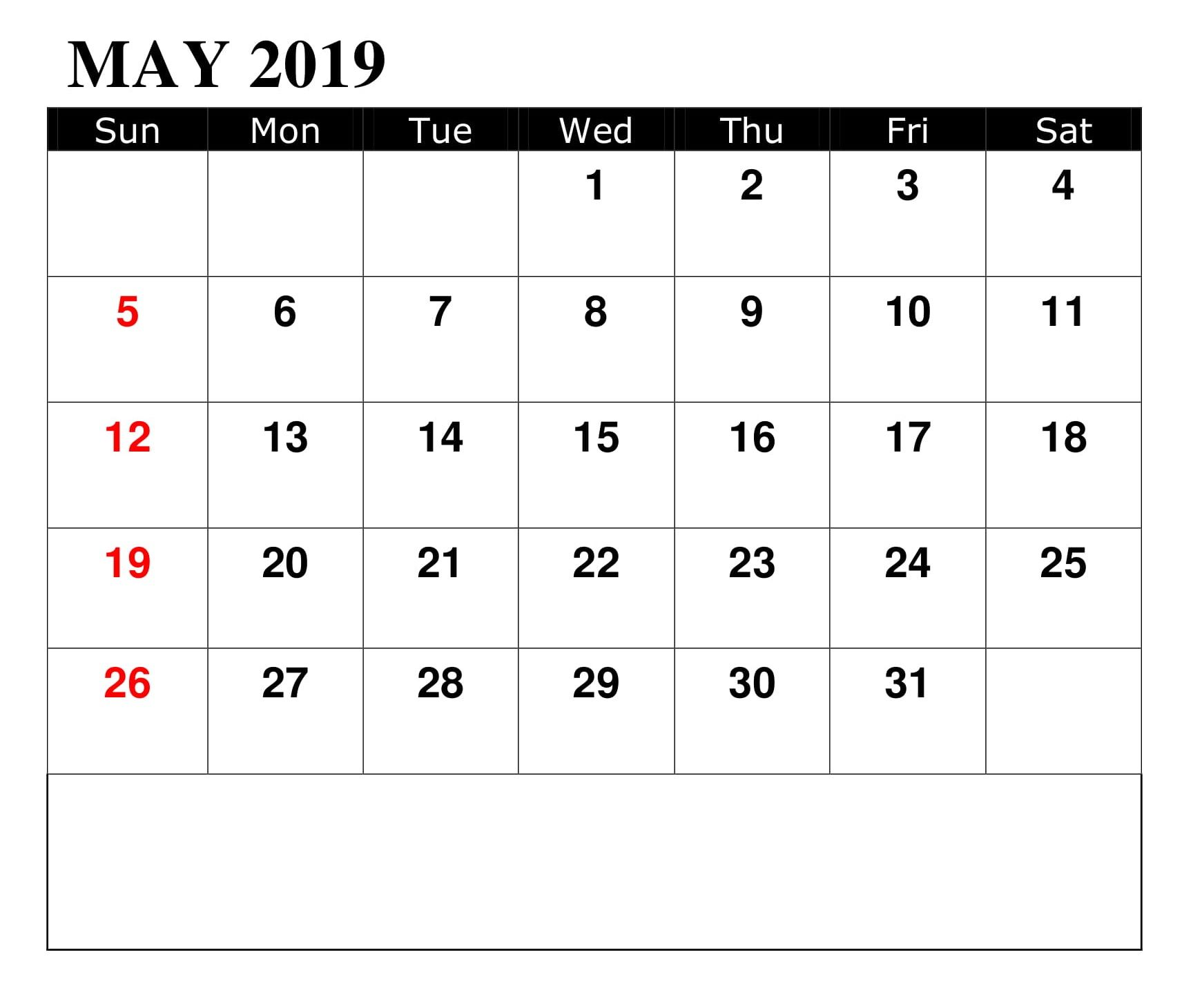 May 2019 Calendar With Holidays And Events Federal Holiday