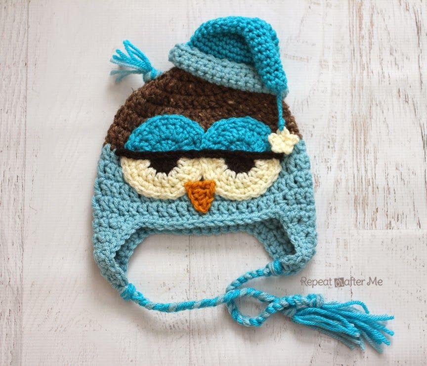 Crochet Drowsy Owl Hat Pattern Crochet Knitting Pinterest