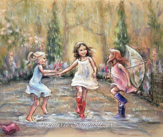 Dancing illustration, rain, wall art, girls daughters