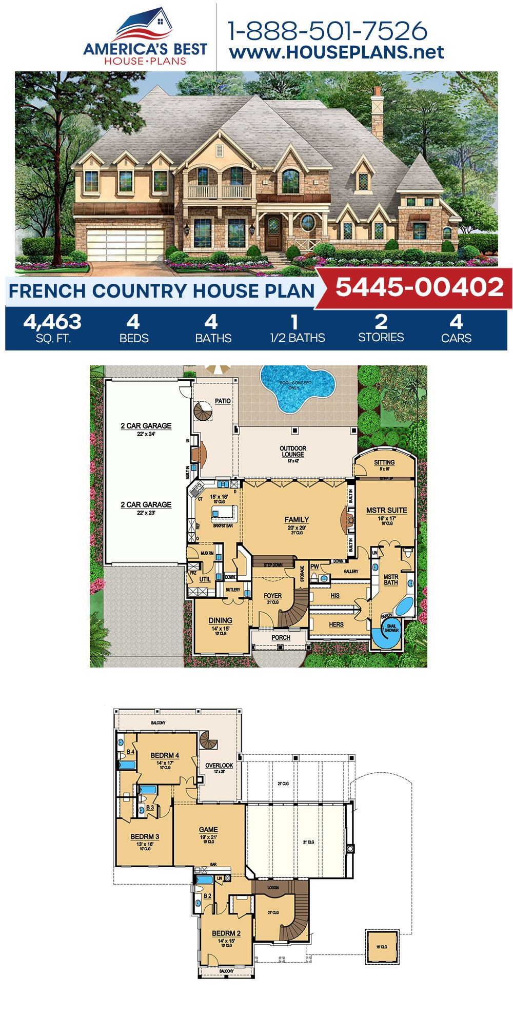 House Plan 5445 00402 French Country Plan 4 463 Square Feet 4 Bedrooms 4 5 Bathrooms In 2021 French Country House Plans French Country House House Plans Australia