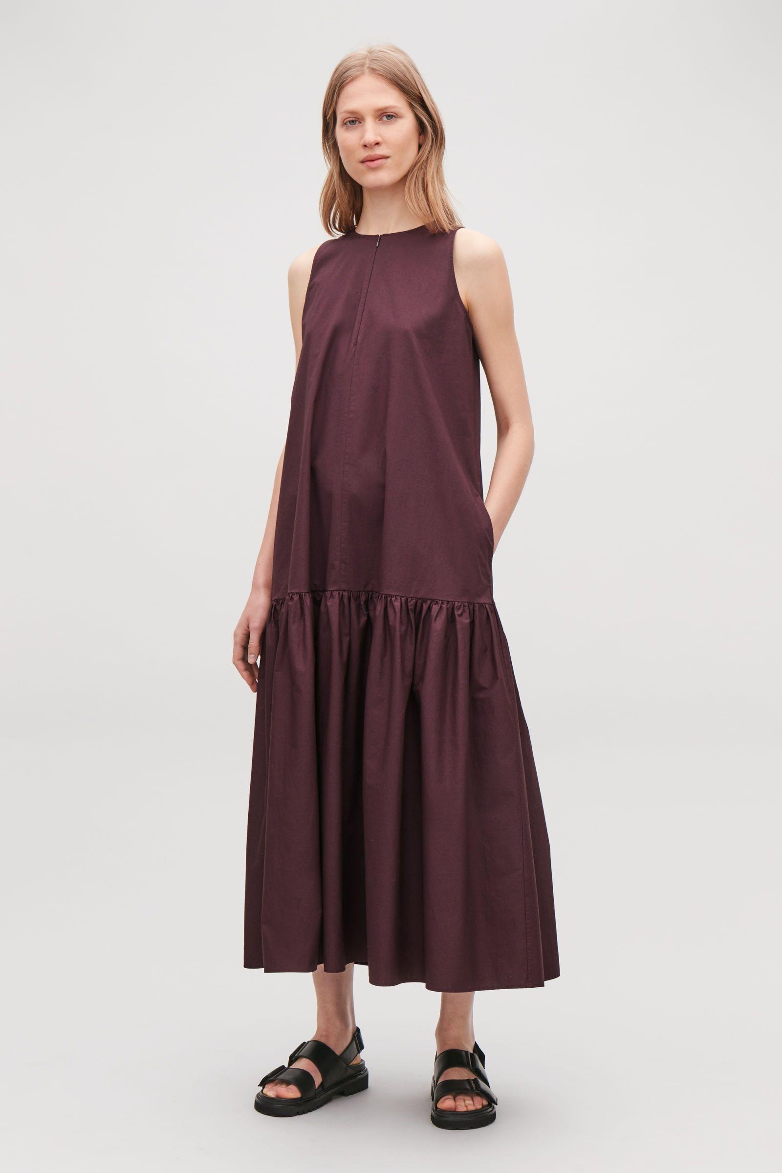 Cos _ gathered aline sleeveless dress burgundy