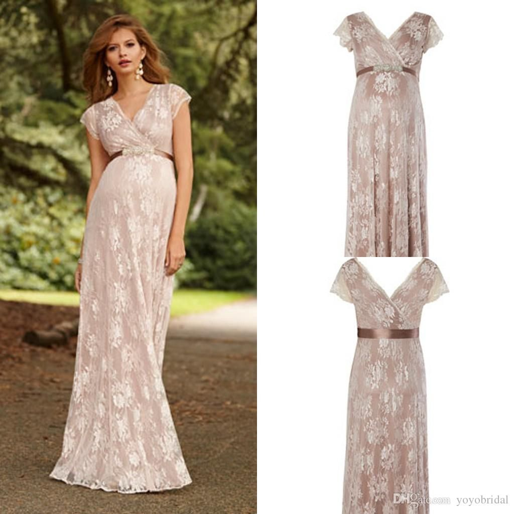 Nude maternity bridesmaid dresses long sash beaded short sleeve nude maternity bridesmaid dresses long sash beaded short sleeve ruffles pleats lace v neck cheap formal ombrellifo Image collections