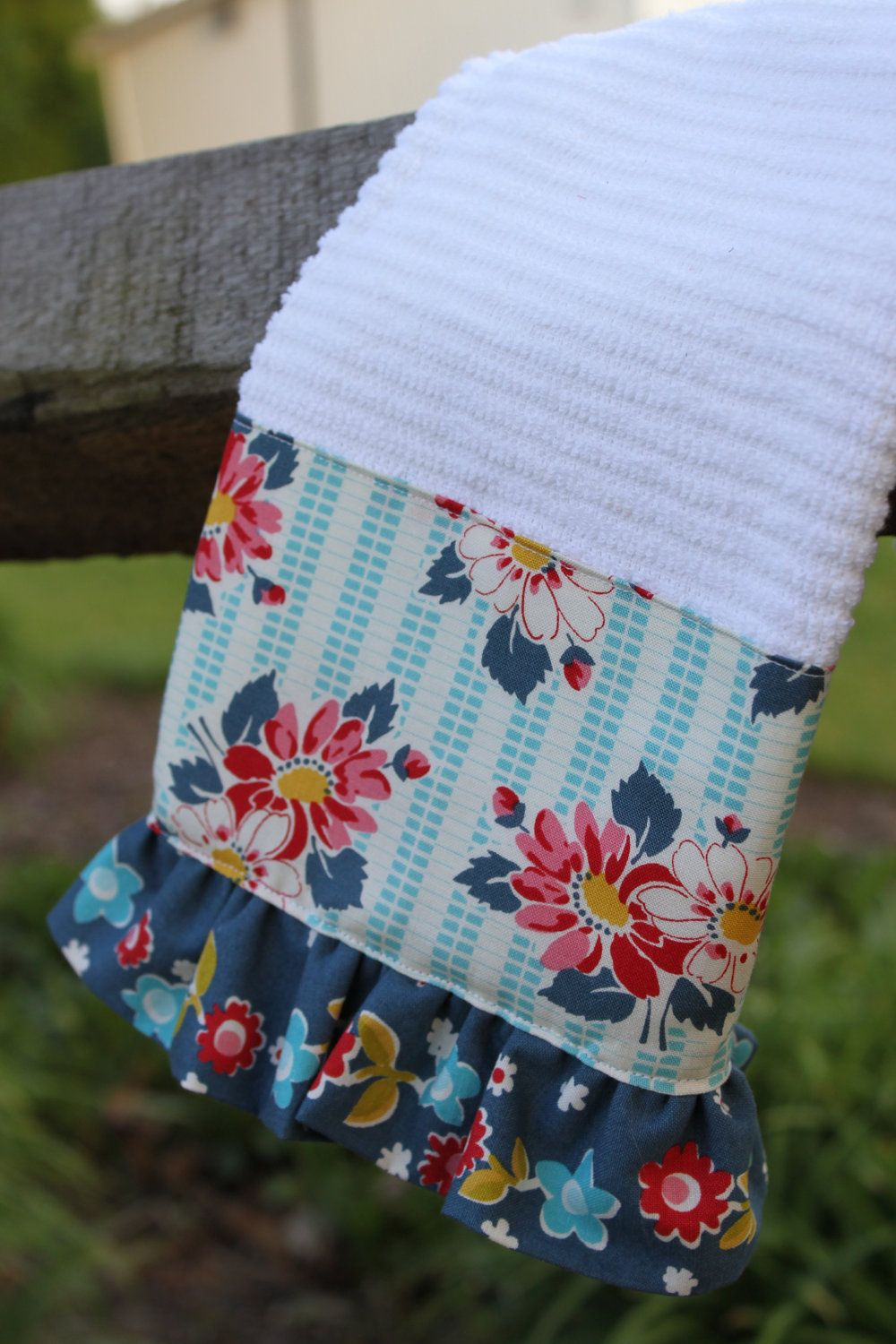 Vintage Inspired Ruffle Kitchen Towel/teal, blue, red, and white ...