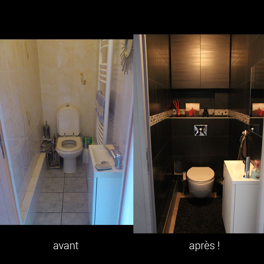 Avant apr s wc noirs toilettes design moderne wc suspendus lave main idee - Wc suspendu design pas cher ...