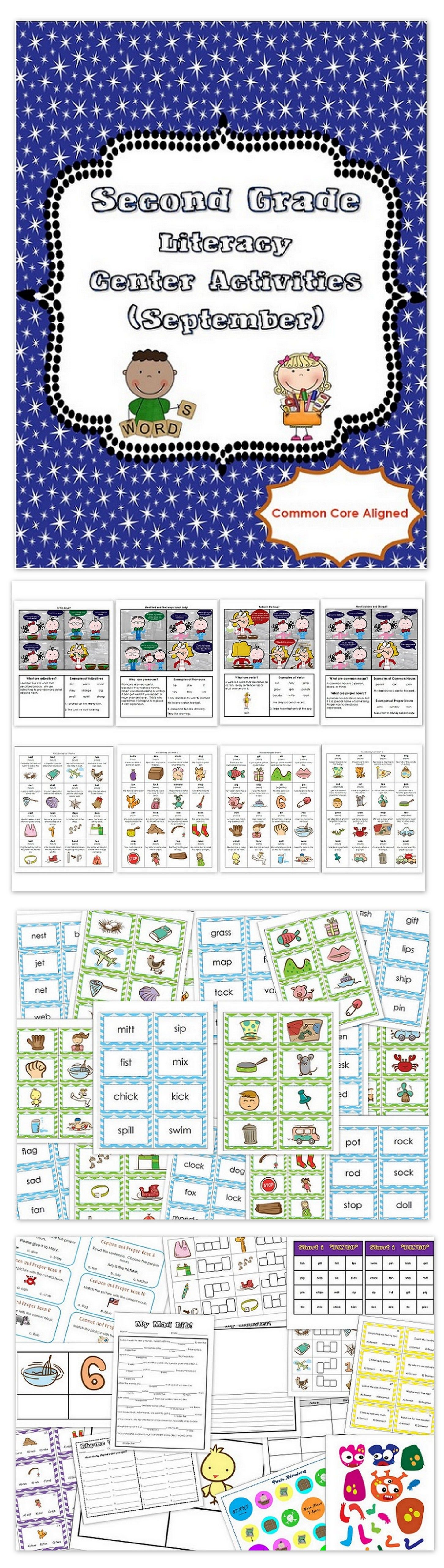 2nd Grade Literacy Centers Activity Pack September