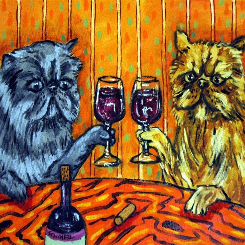 Siamese cat wine 11x14  artist prints animals impressionism