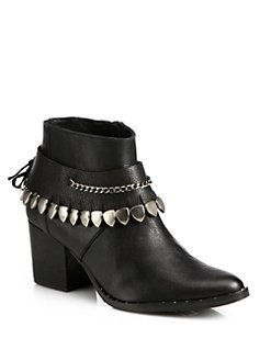 FREDA SALVADOR - Comet Chained Leather Ankle Boots - LOVE the hardware  Stacked heel, 2.5
