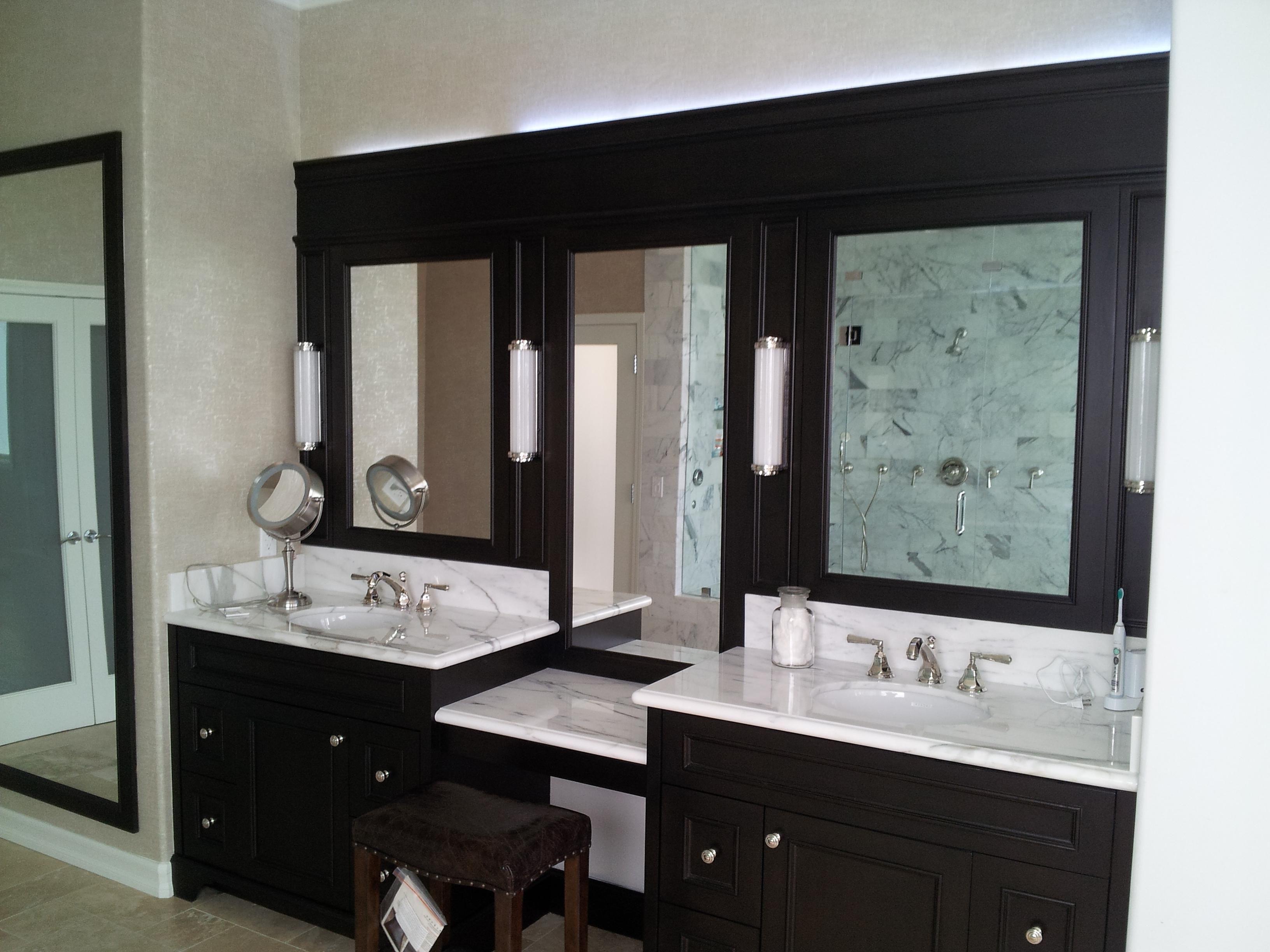 Furniture Astounding Ideas Black And White Double Sink Bathroom Vanity With Mirror Makeup Area Al Home Depot Bathroom Fancy Bathroom Modern Bathroom Vanity