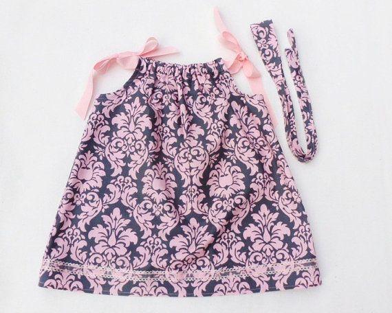 SweetPink and Charcoal Damask Pillowcase Dress!  $26.00