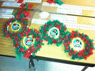 We made holiday wreaths in my class. The kids are holding a sign that says 'Ms. Wylie's First Grade Class'