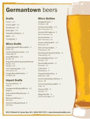 Beer Menu Beer Menu Beer Draft Beer