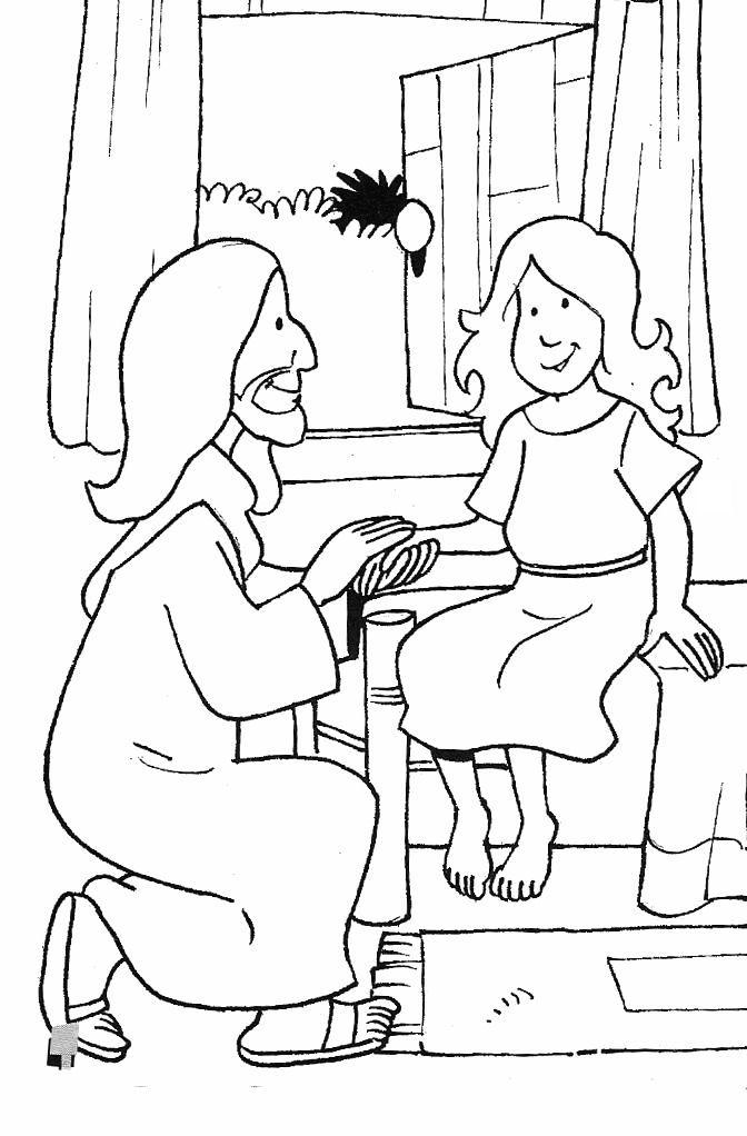 coloring pages healings of jesus | Jairus' daughter - Coloring Page - SundaySchoolist