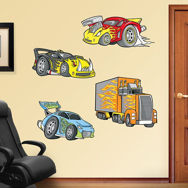 Fathead Race Cars Peel and Stick Wall Graphic - Wall Sticker Outlet ...