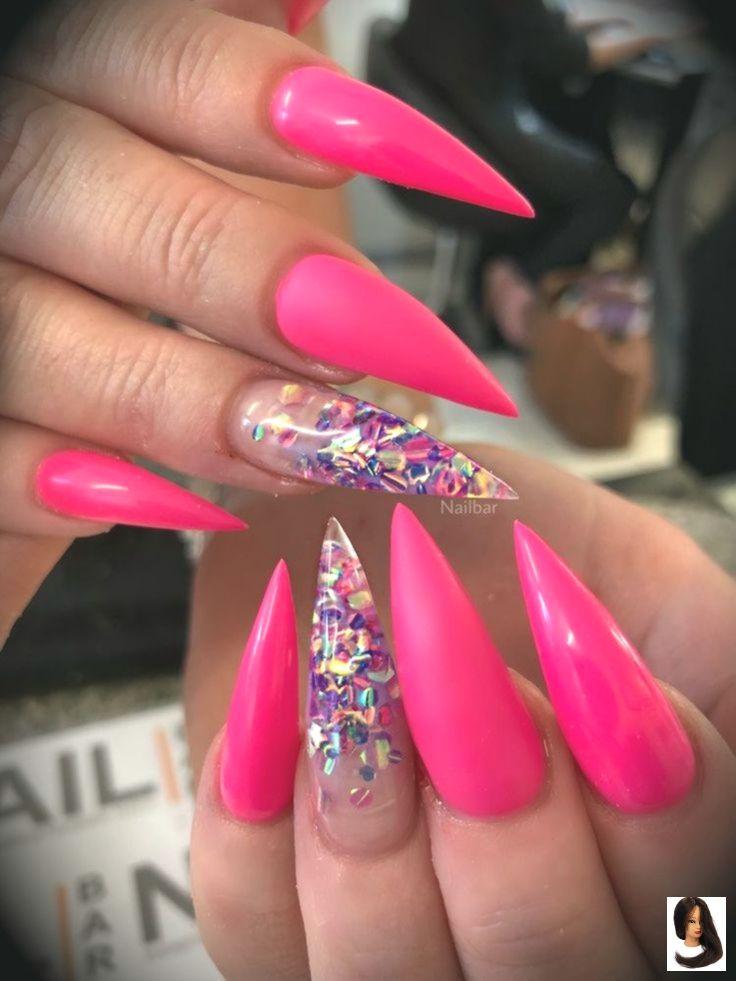 Acrylic Nails Stiletto Glitter Hot Nails Pink Stiletto Hot Pink And Glitter Stiletto Nails Nails Stiletto C Unghie Unghie Gel Unghie Fluorescenti