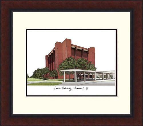 Lamar University Lithograph Framed Campus Print