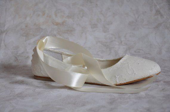 b6c54d8f4867 Lace wedding flats ballet flats with ribbon ivory lace bridal flats lace  wedding flat shoes embellis