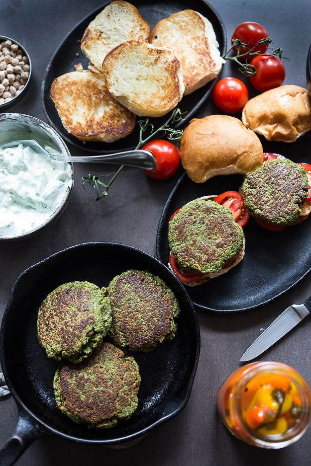 Falafel Burgers with Tzatziki: a vegan gluten-free burger that is healthy and filling.