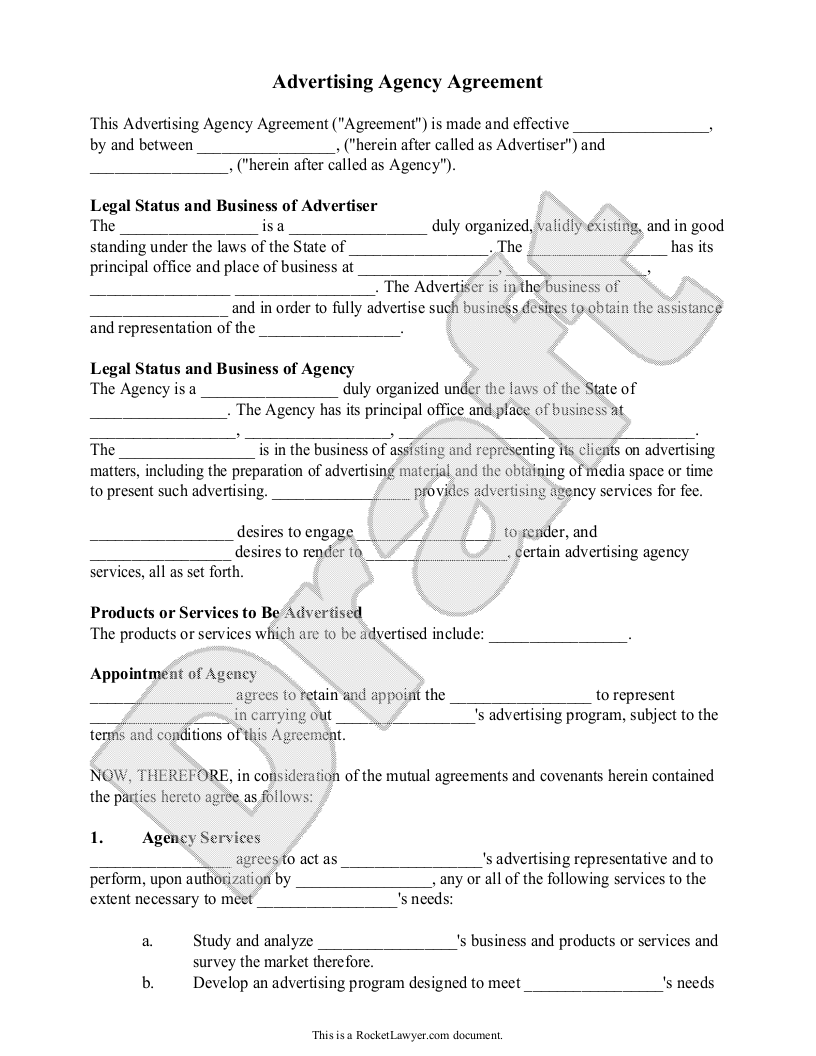 Advertising Agency Agreement Contract Sample, Template   Ad Agency Contract  Agent Agreement Template Free