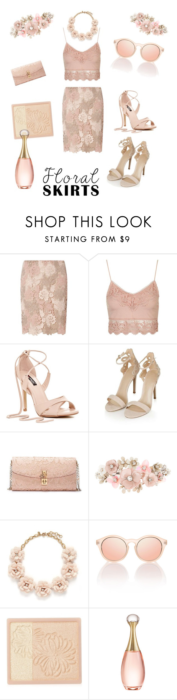 """""""Flower nude"""" by lillialessandra ❤ liked on Polyvore featuring Dorothy Perkins, Topshop, Dolce&Gabbana, Accessorize, J.Crew, Paul & Joe, Christian Dior and Floralskirts"""