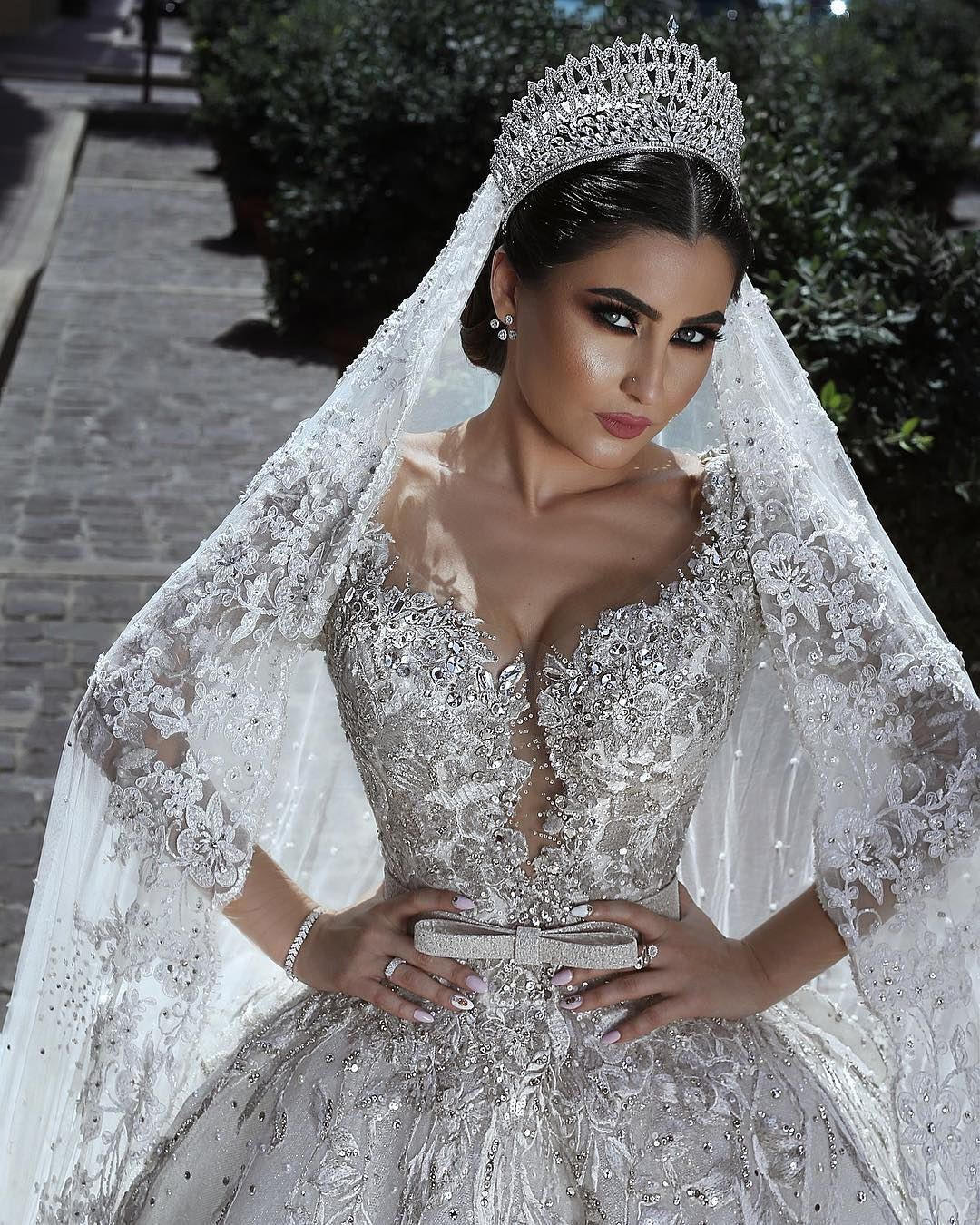Details About Luxury White Ivory Wedding Dress Muslim Bridal Gown