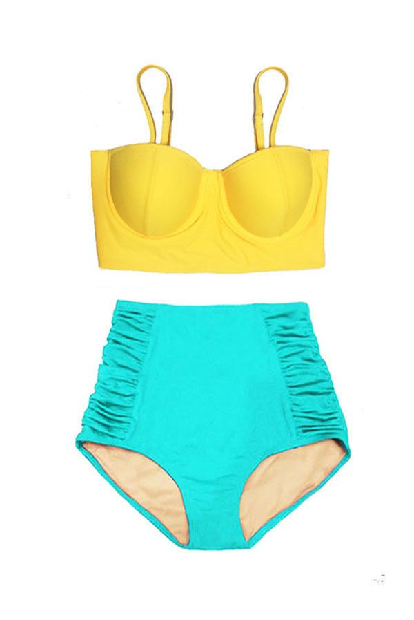 ba3b6018f0cc2 Yellow Underwire Midkini Top and Mint High Waisted Waist Bottom Handmade  Woman Women Swimsuit Swimwear Bikini set Bathing suit wear S M L XL by  venderstore ...