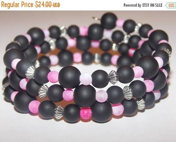 Frosted Black Agate Frosted Pink Agate Tibetan Silver Memory Wire Wrap Bracelet
