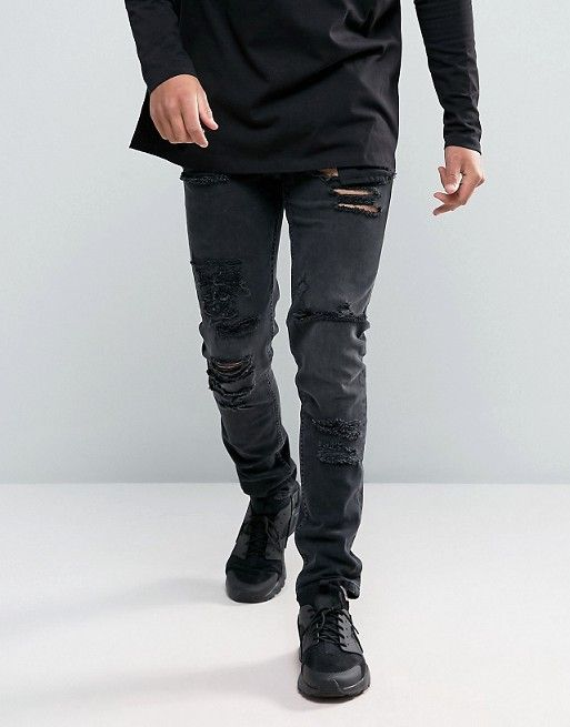 ASOS Skinny Jeans in 12.5oz With Mega Rips In Washed Black
