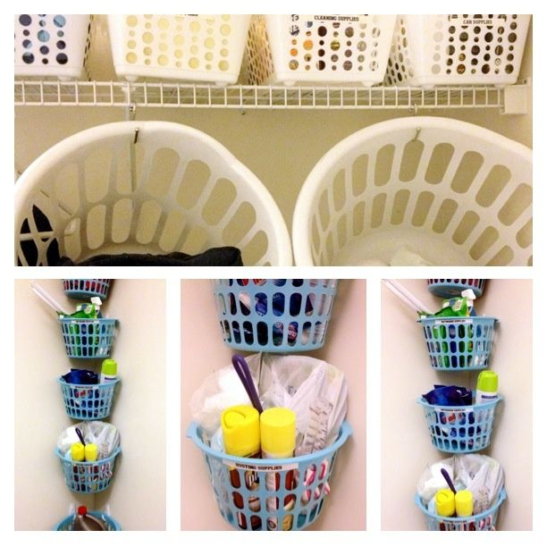 Hang Laundry Baskets From Dollar Tree With S Hooks Above Washer