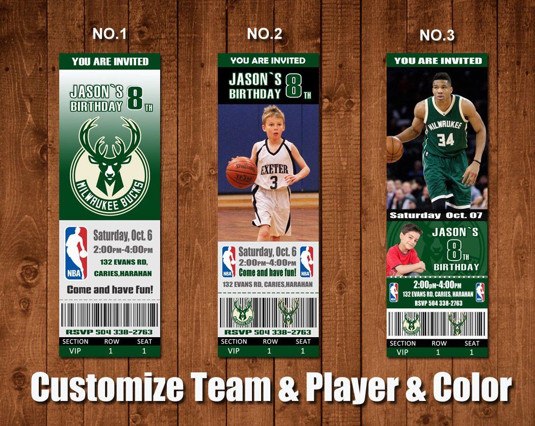 image relating to Milwaukee Bucks Schedule Printable called Printable Milwaukee dollars Basketball Birthday Invitation